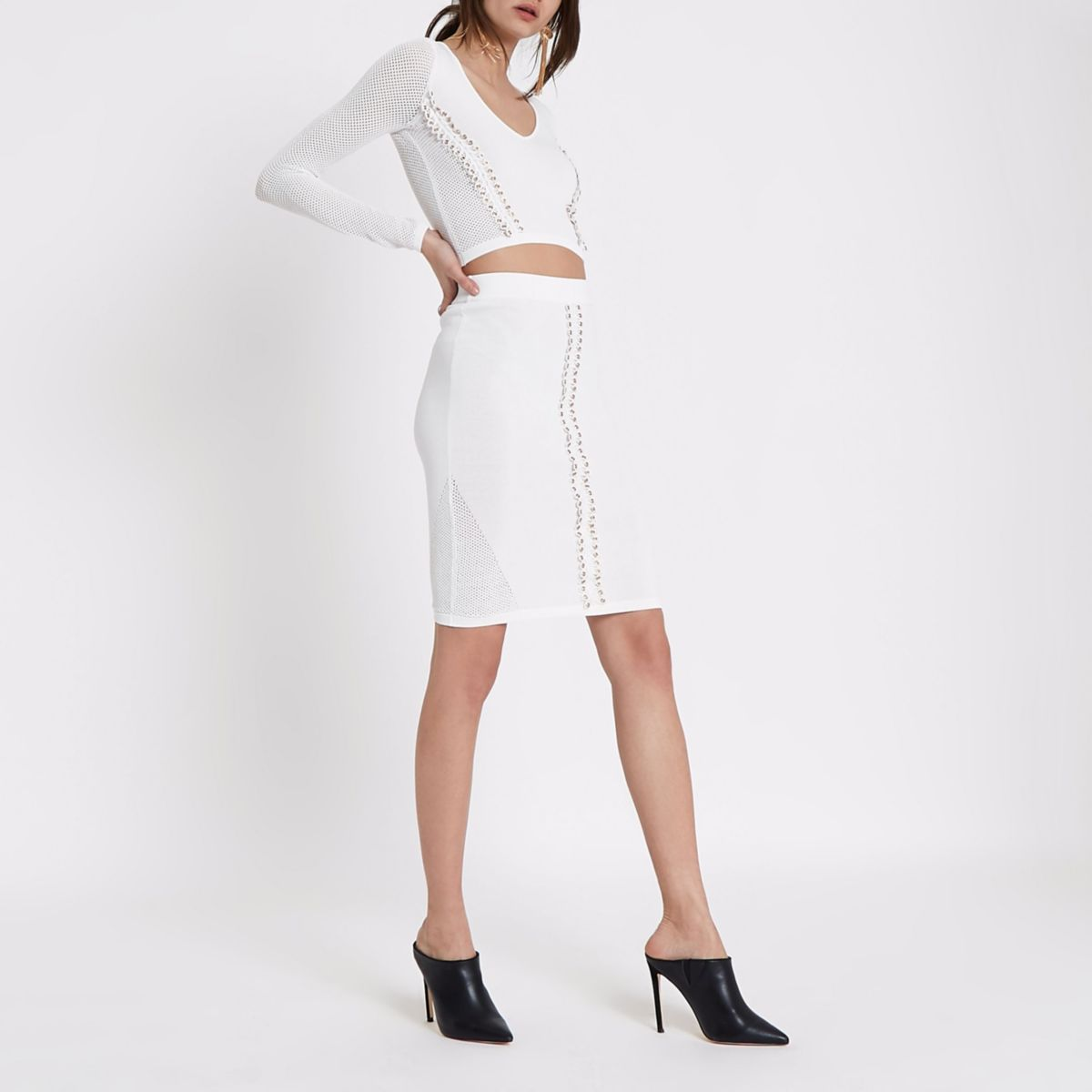 White eyelet trim pointelle knitted skirt