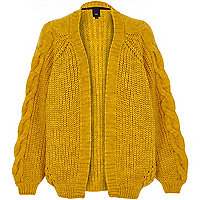 Mustard yellow chunky cable knit cardigan