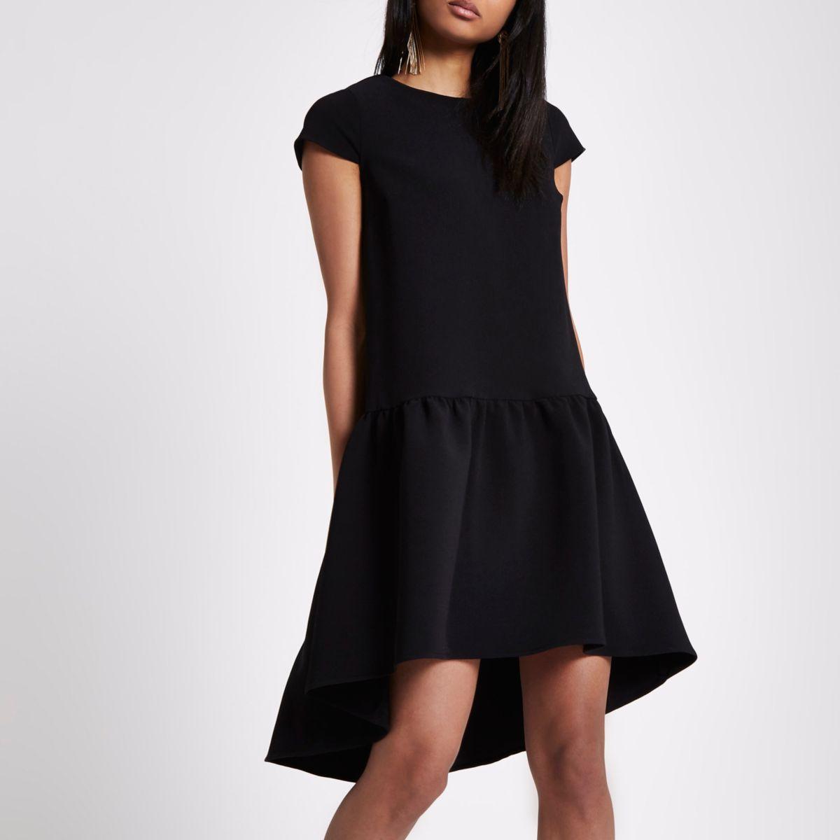 Black dropped waist cap sleeve swing dress