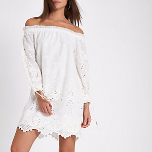 Cream embroidered broderie bardot dress