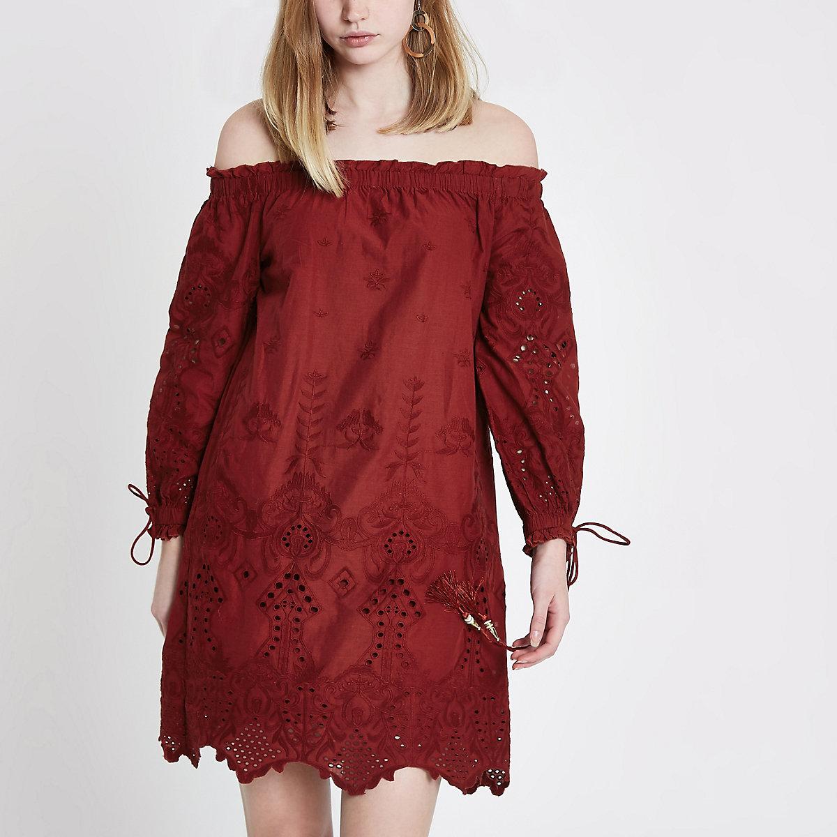 Dark red embroidered bardot swing dress