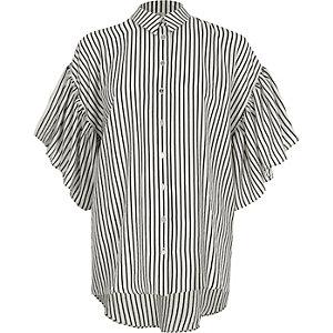 Black stripe frill sleeve shirt
