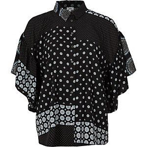 Black mix tile print frill blouse