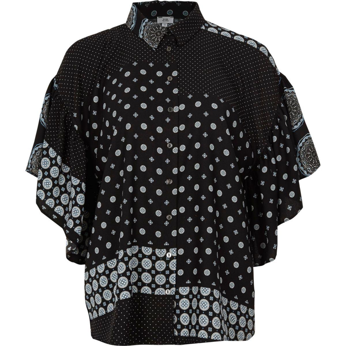 Black mix tile print frill blouse