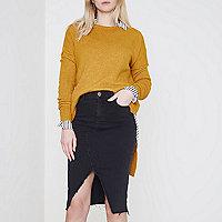 Black frayed seam denim pencil skirt