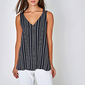 Navy stripe double strap cross back tank