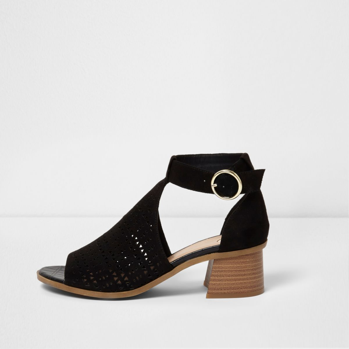 Black laser cut flared block heel sandals