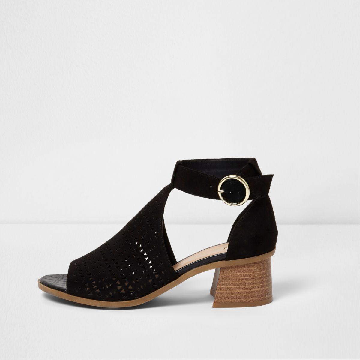 Black laser cut flared block heel sandals