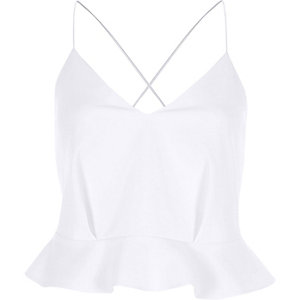 White peplum cross back cropped cami top