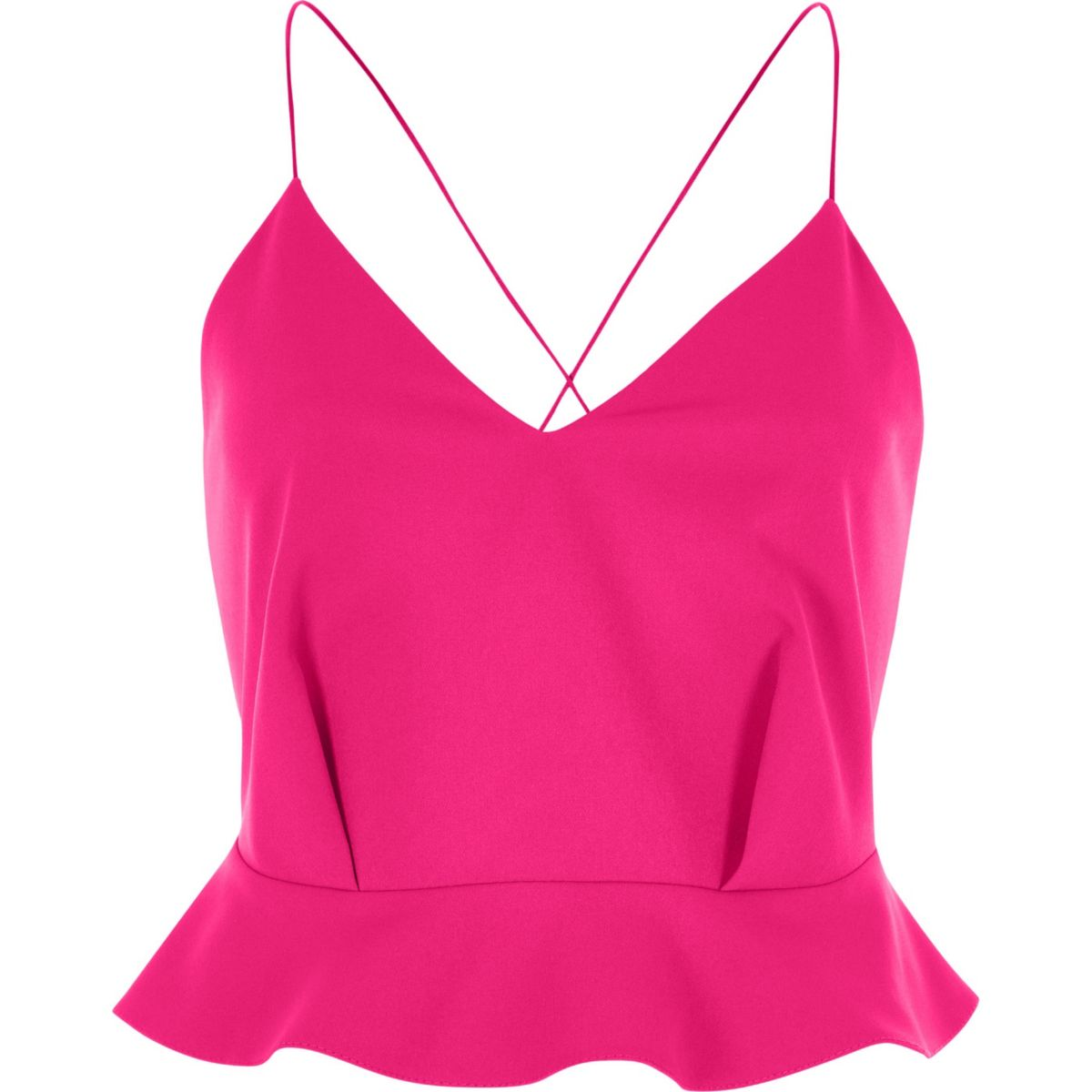 Pink peplum cross back cropped cami top