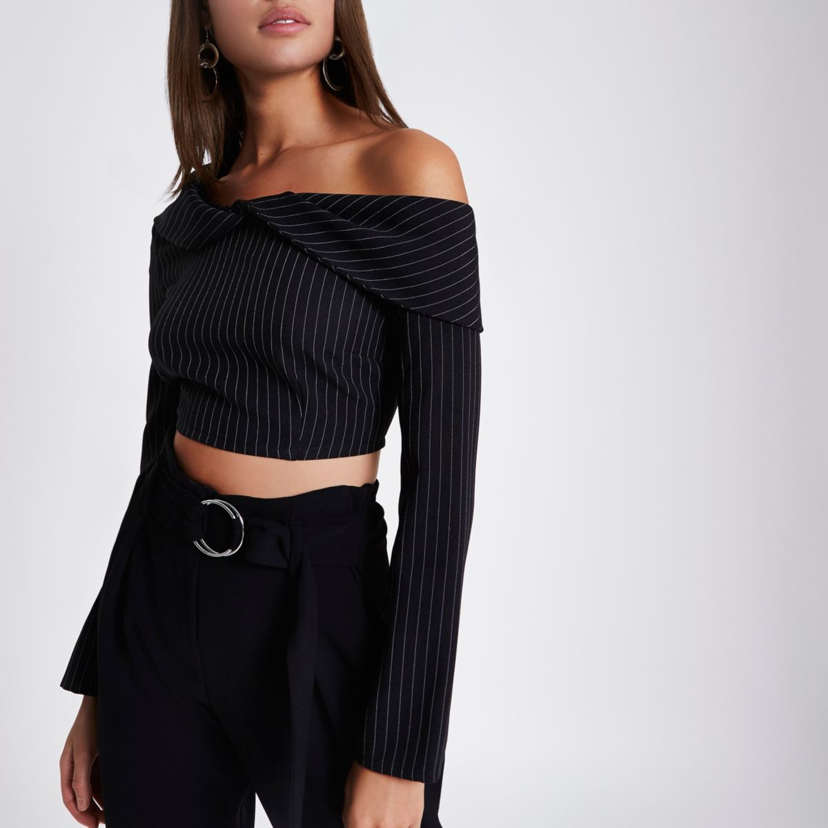 Black pinstripe twist bardot crop top