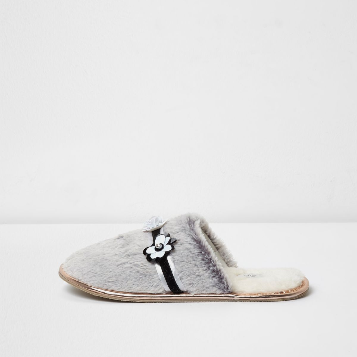 Grey 3D floral fluffy mule slippers