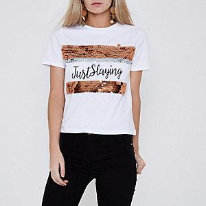 RI Petite - Wit 'just slaying' T-shirt met lovertjes