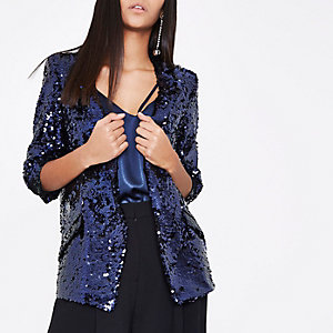 Dark purple sequin embellished blazer