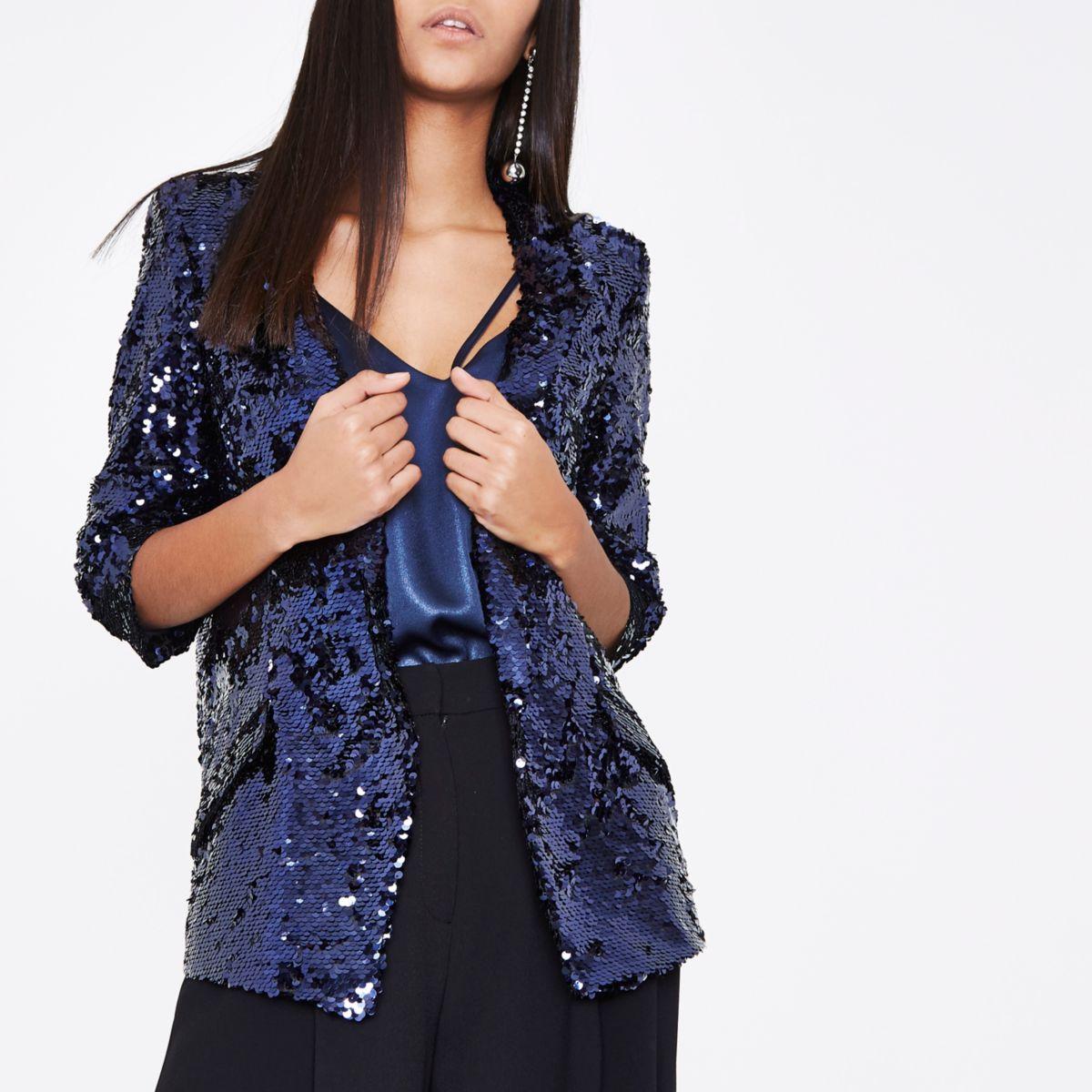 Dark purple sequin embellished blazer