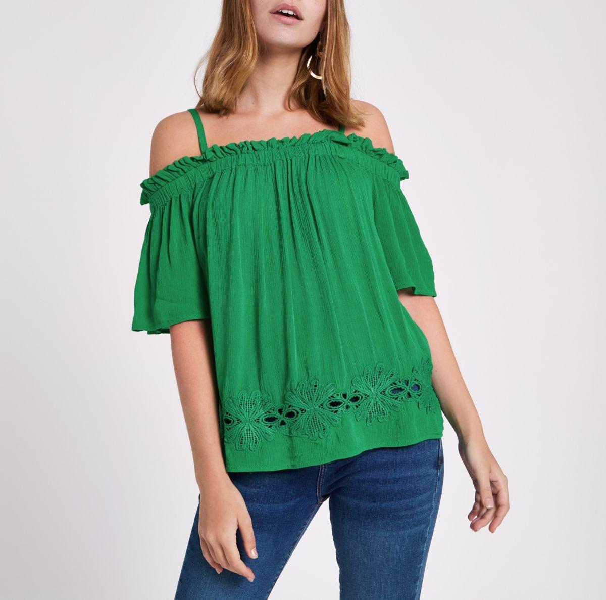 Petite green bardot lace hem top