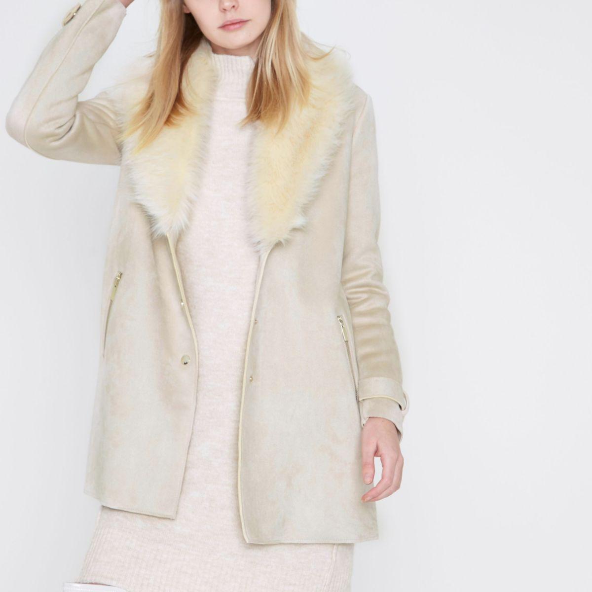 Cream faux fur collar swing coat