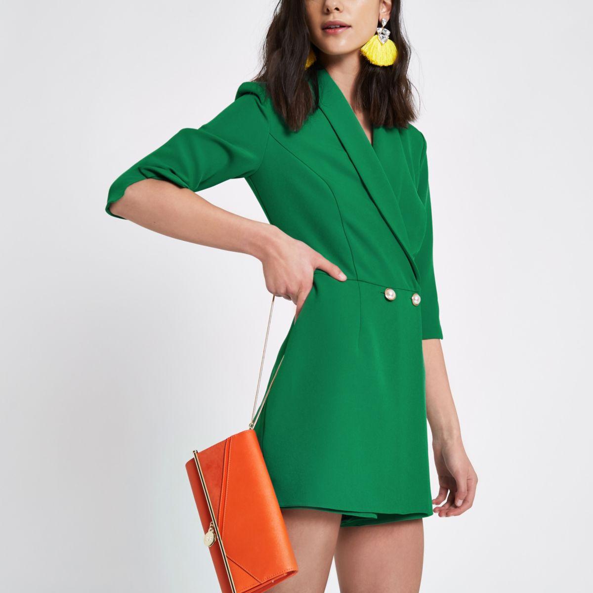 Green padded shoulder tux romper