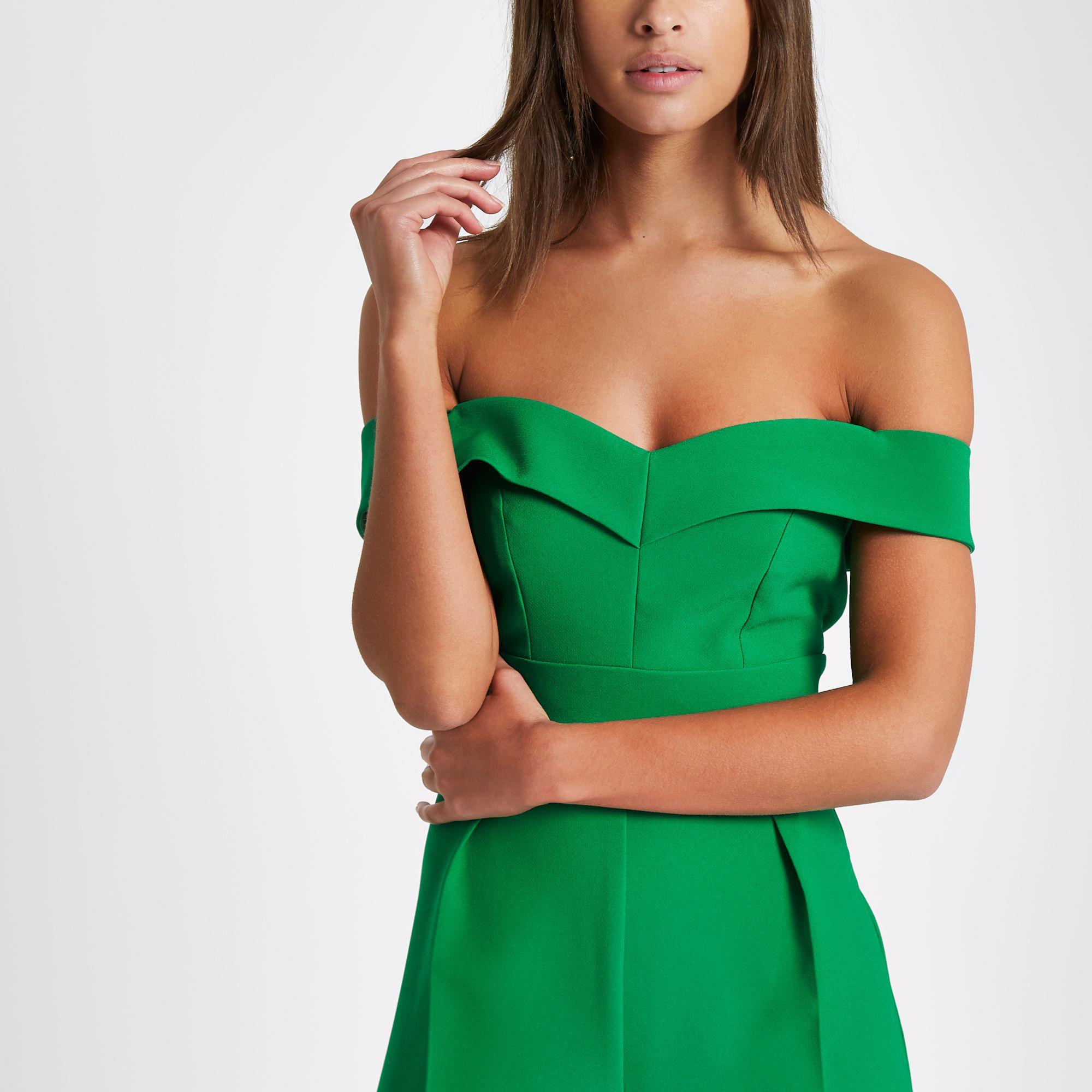 11db8b7912cf River Island Green bardot culotte jumpsuit at £65