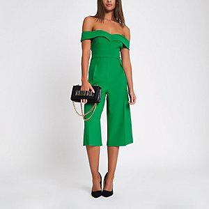 Green bardot culotte jumpsuit