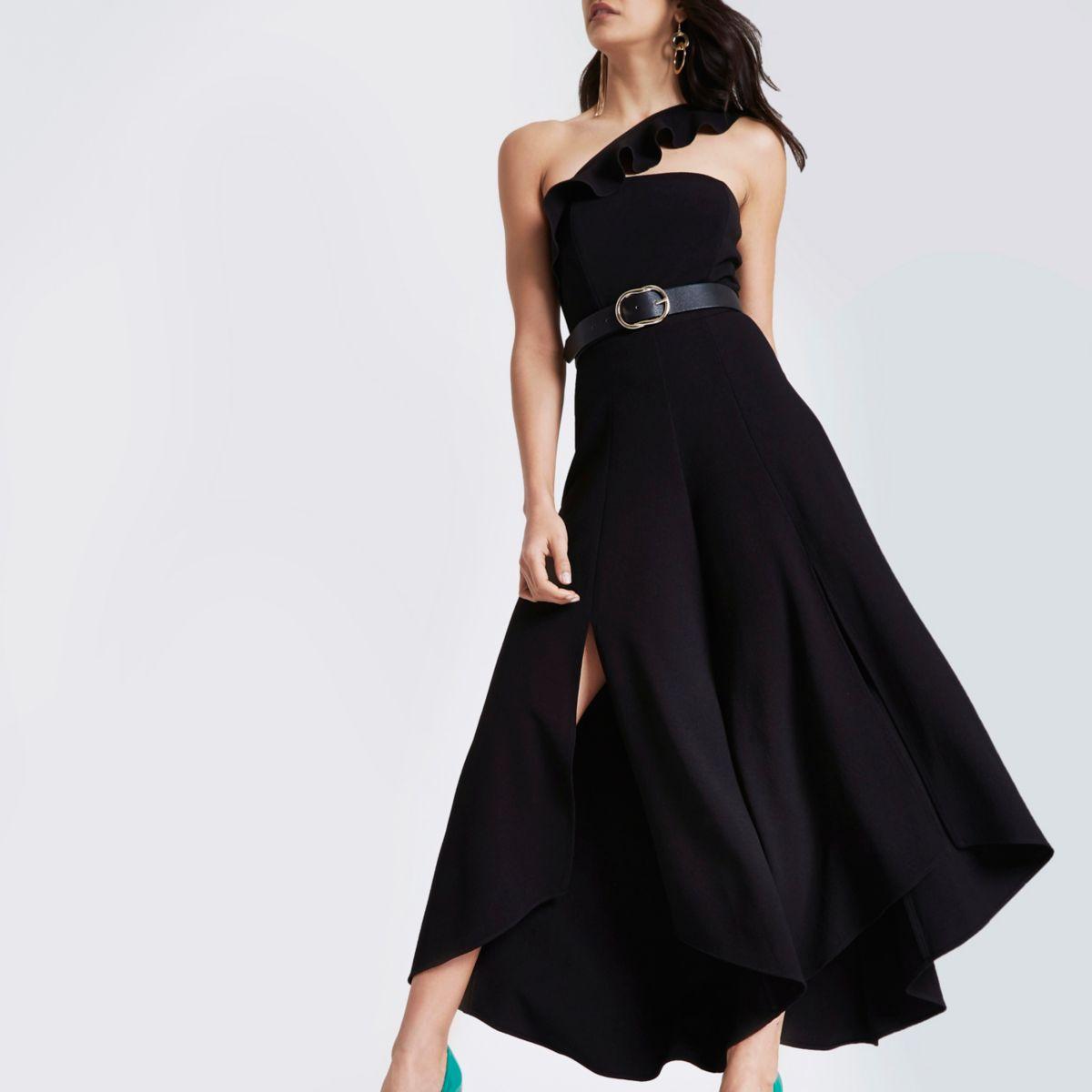 Black asymmetric frill wide leg jumpsuit