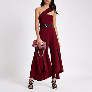 Red asymmetric frill wide split leg jumpsuit