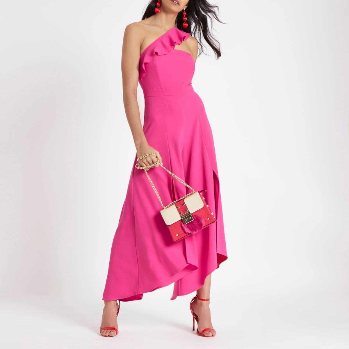 Pink asymmetric frill wide split leg jumpsuit