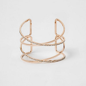 Roségoudkleurige brede armband bezet met strass