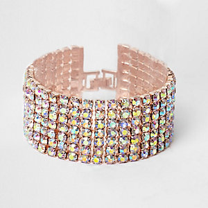 Bracelet en chaîne façon or rose à strass