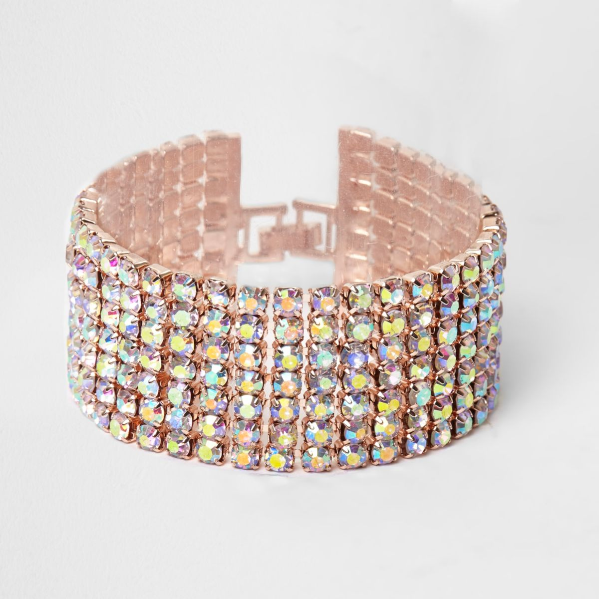 Rose gold tone rhinestone cup chain bracelet