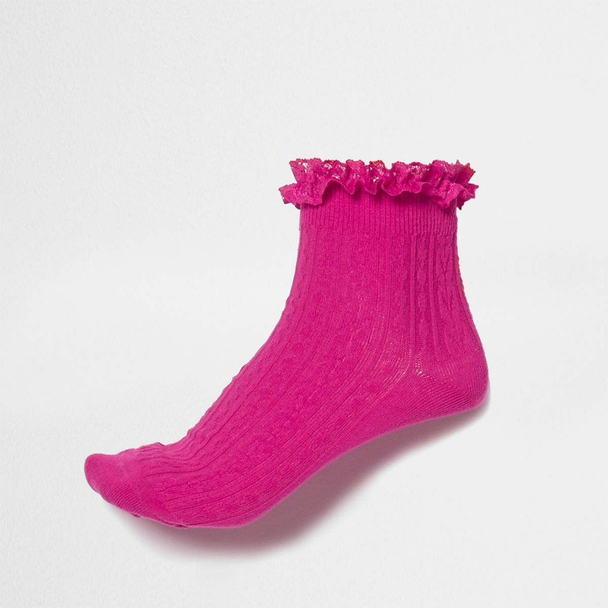Pink cable knit frill ankle socks
