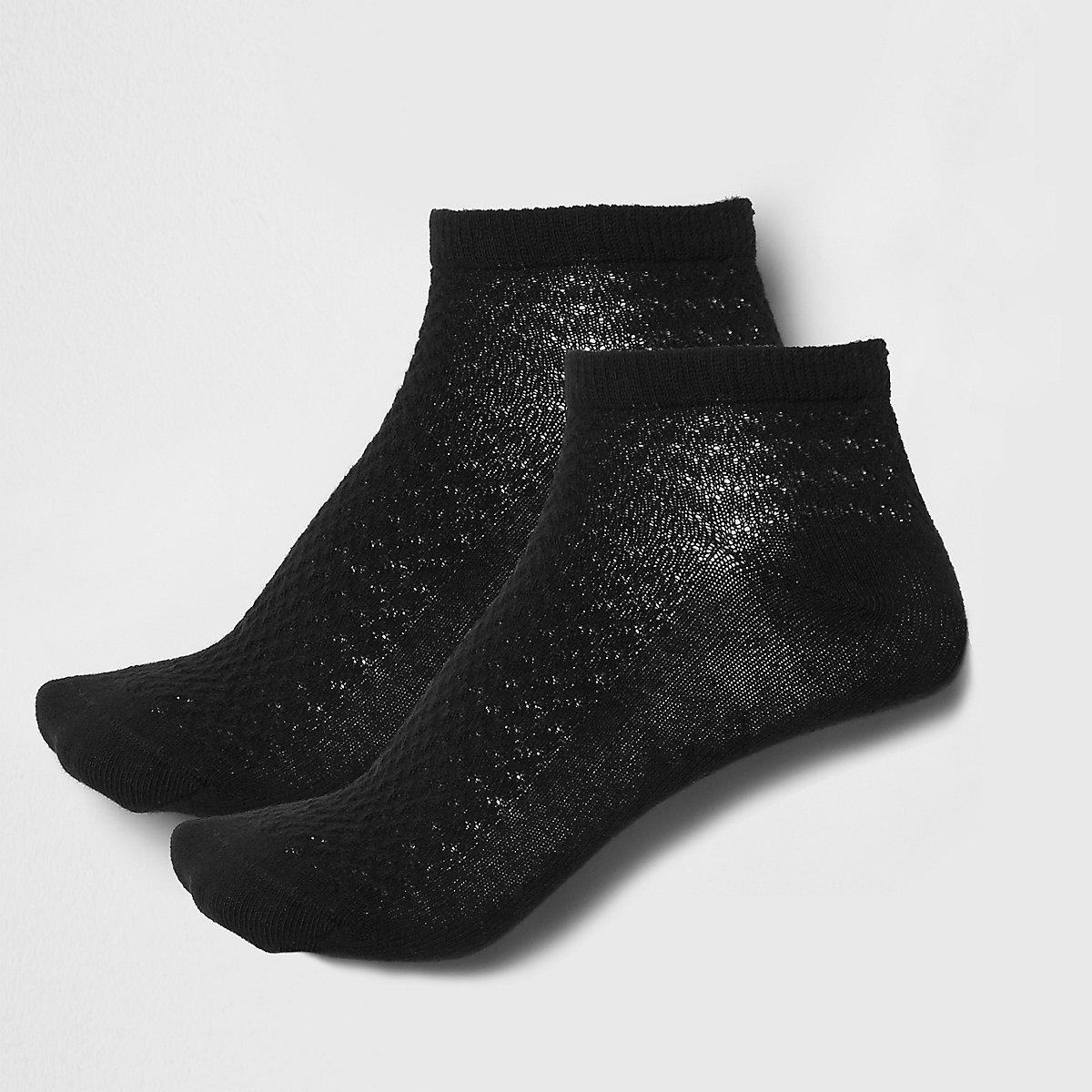 Black textured trainer socks 2 pack