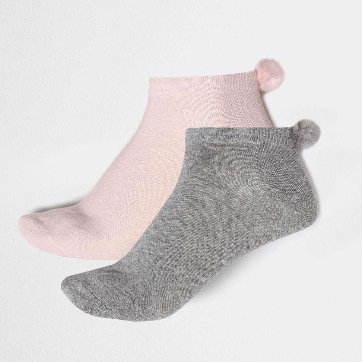 Grey faux fur pom pom sneaker socks multipack