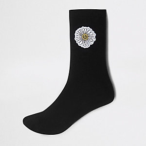 Black Daisy print ankle socks