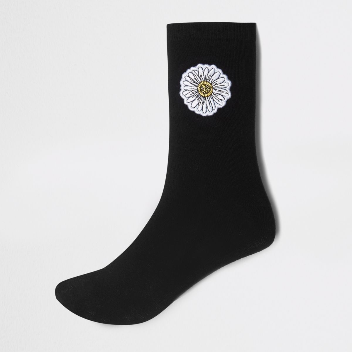 Black Daisy print ankle socks