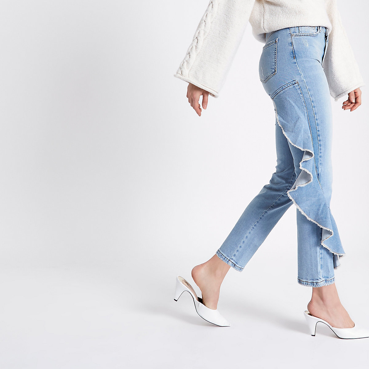 Mid blue side frill Bella straight leg jeans