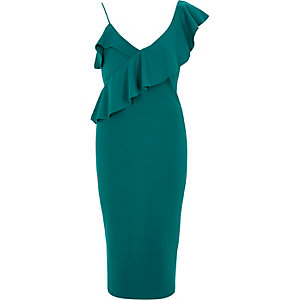 Green frill shoulder bodycon midi dress