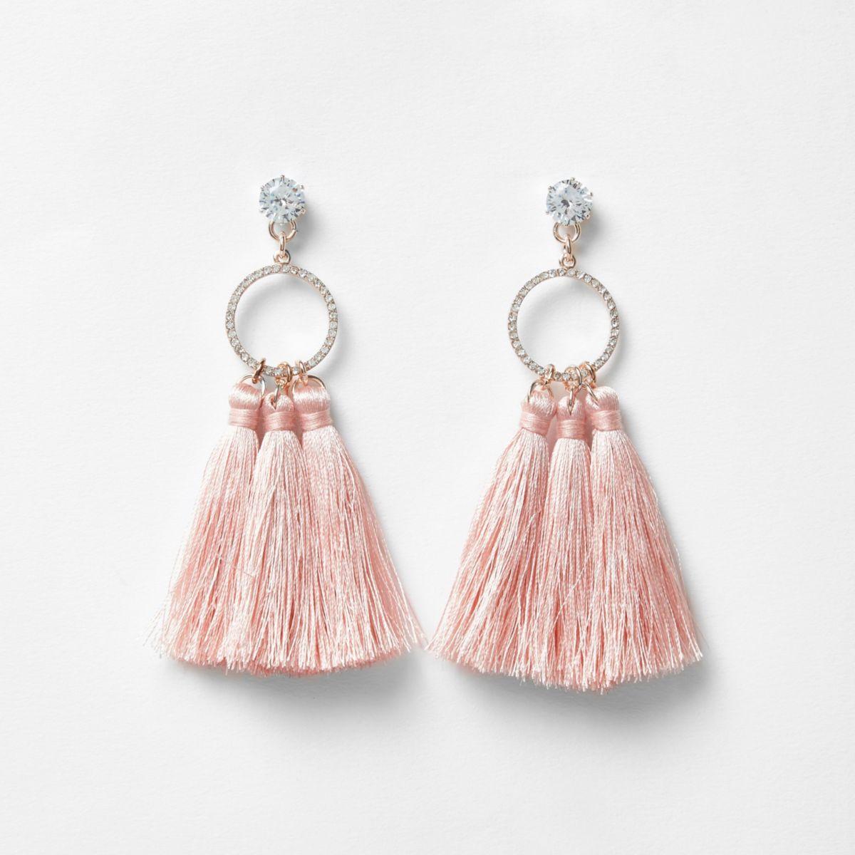 Light pink triple tassel drop earrigngs