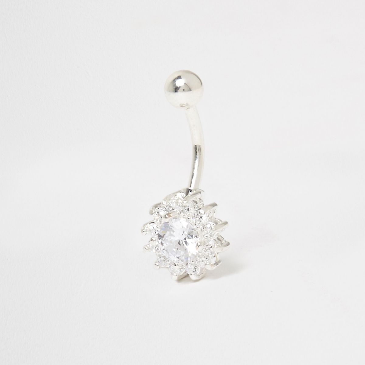 Silver tone cubic zirconia floral belly bar