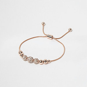 Rose gold tone embellished thread bracelet