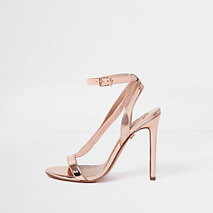 Gold metallic rhinestone barely there sandals