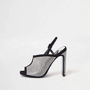 Sandales noires à strass thermocollés et talons fins