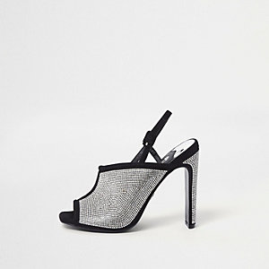 Zwarte heatseal sandalen met siersteentjes en smalle hak