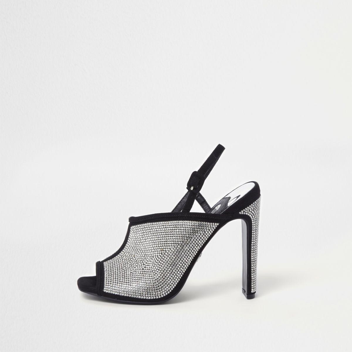 Black diamante heatseal slim heel sandals