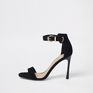 Black barely there flare heel sandals