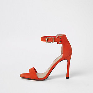Orange flare heel barely there sandals