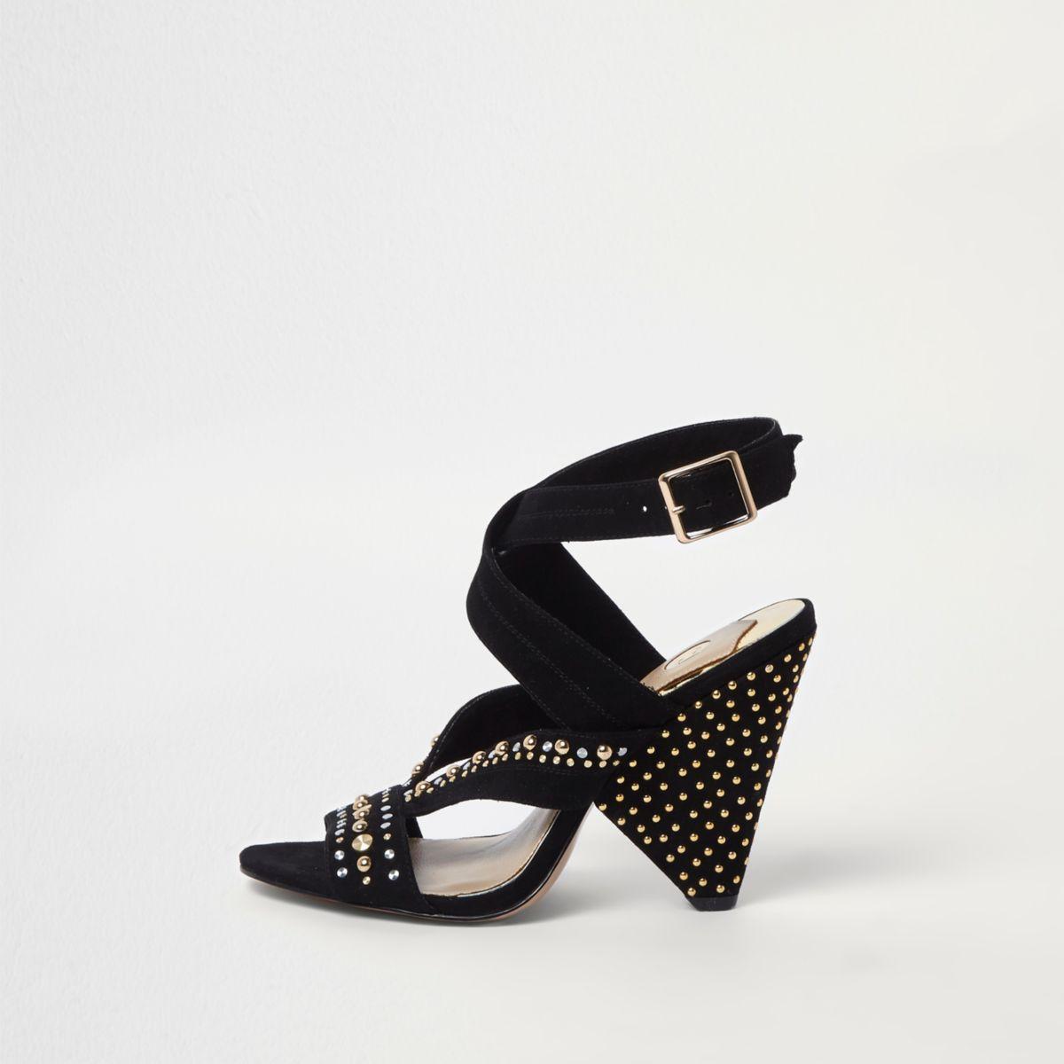 Black stud embellished cone heel sandals