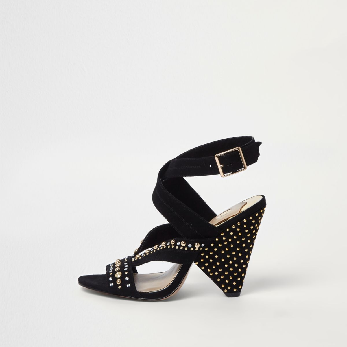 Zwarte sandalen met kegelvormige hak en studs