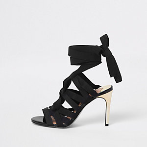 Black caged tie up sandals