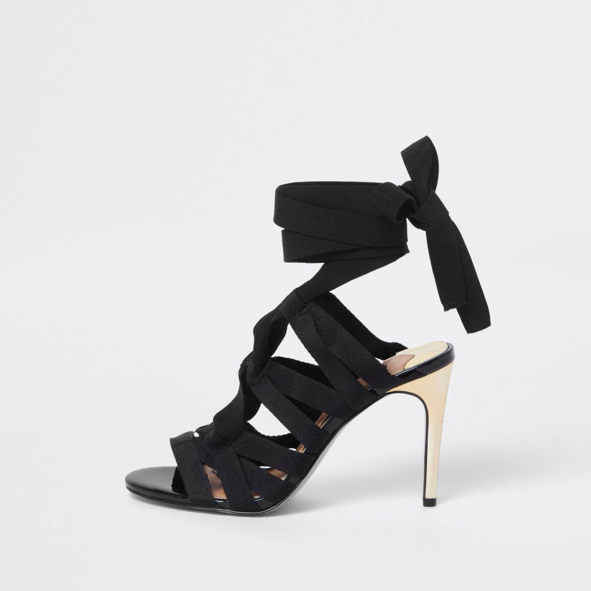 Black caged tie up sandals